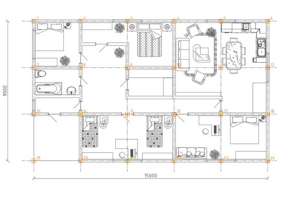 Фундамент одноэтажного дома 9х15