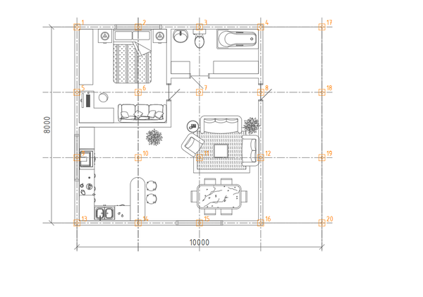Фундамент одноэтажного дома 10х8